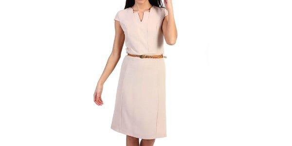Dámské béžové pouzdrové šaty s páskem Pepper Tree