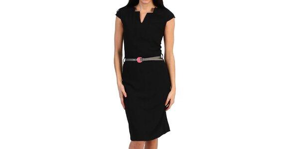 Dámské černé pouzdrové šaty s páskem Pepper Tree