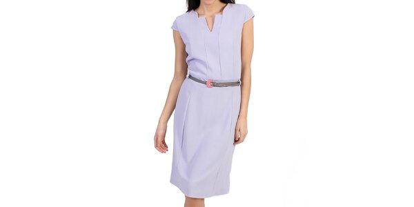 Dámské fialkové pouzdrové šaty s páskem Pepper Tree