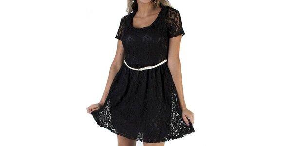 Dámské černé krajkové šaty Pepper Tree