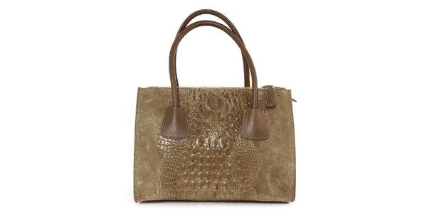 Dámská šedo-hnědá kožená kabelka se vzorem krokodýlí kůže Kreativa bags