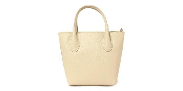 Dámská béžová kožená kabelka se dvěma poutky Kreativa bags