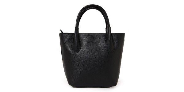 Dámská černá kožená kabelka se dvěma poutky Kreativa bags