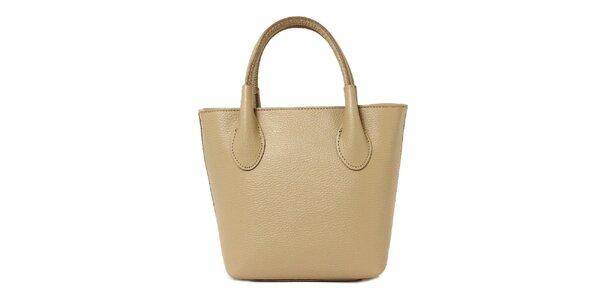Dámská tmavě béžová kožená kabelka se dvěma poutky Kreativa bags