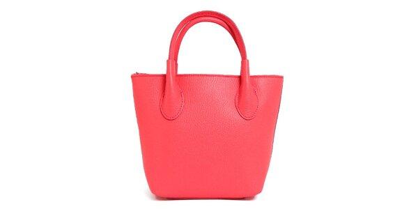 Dámská lososově růžová kožená kabelka se dvěma poutky Kreativa bags