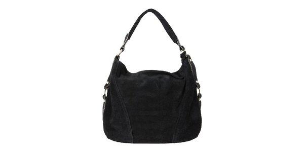 Dámská černá kožená kabelka se zipovým zapínáním Kreativa bags