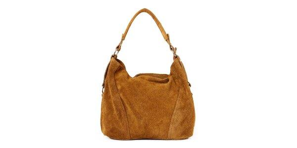 Dámská světle hnědá kožená kabelka se zipovým zapínáním Kreativa bags