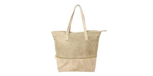 Dámská béžová kabelka s krokodýlím vzorem Kreativa bags