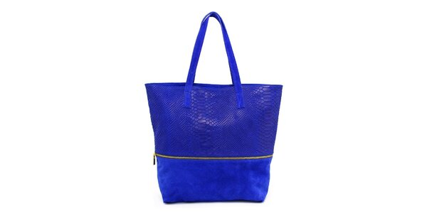 Dámská modrá kabelka s krokodýlím vzorem Kreativa bags