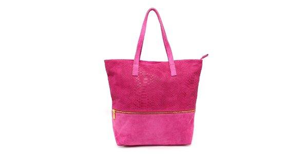 Dámská fuchsiová kabelka s krokodýlím vzorem Kreativa bags
