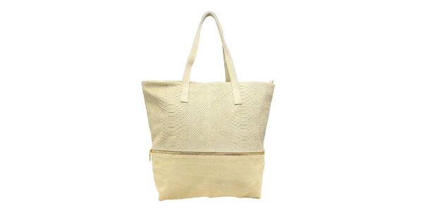 Dámská světle béžová kabelka s krokodýlím vzorem Kreativa bags