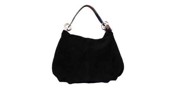 Dámská černá kožená kabelka s pevným popruhem Kreativa bags