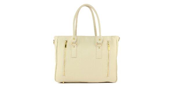 Dámská smetanová kožená kabelka se dvěma zipy Kreativa bags