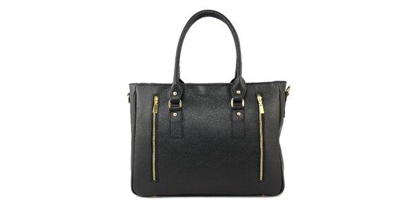 Dámská černá kožená kabelka se dvěma zipy Kreativa bags
