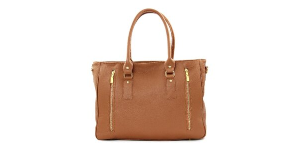 Dámská hnědá kožená kabelka se dvěma zipy Kreativa bags