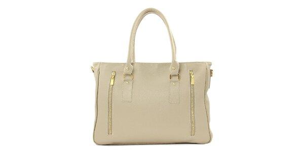 Dámská béžová kožená kabelka se dvěma zipy Kreativa bags
