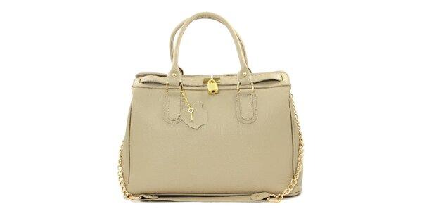 Dámská krémová kožená kabelka s řetízkem Kreativa bags