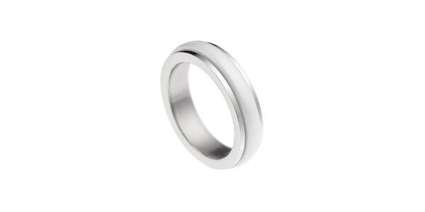 Dámský prstýnek s bílým proužkem Ceramic Line