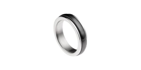 Dámský prstýnek s černým proužkem Ceramic Line