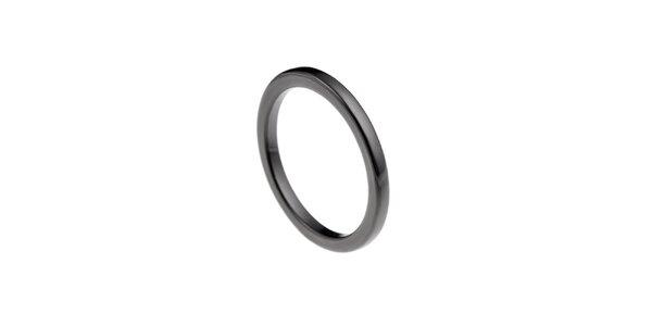 Dámský černý keramický prsten Ceramic Line
