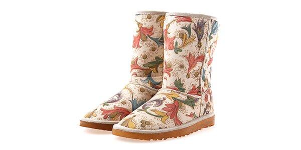 Dámské béžové boty s květinovým vzorem Elite Goby