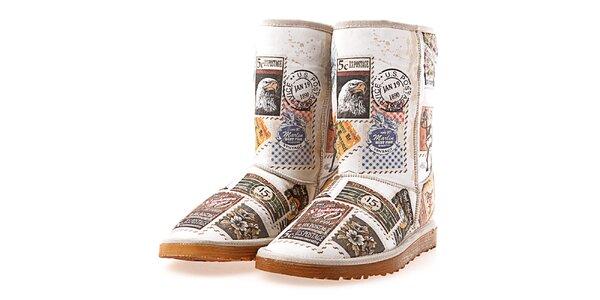 Dámské boty s potiskem známek Elite Goby