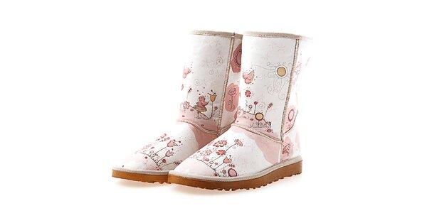 Dámské světlé boty s růžovým potiskem Goby