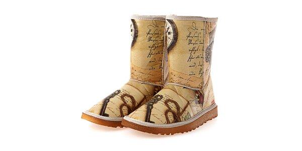 Dámské béžové boty s retro potiskem Elite Goby