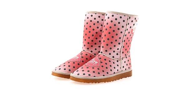Dámské růžové puntíkaté boty Elite Goby