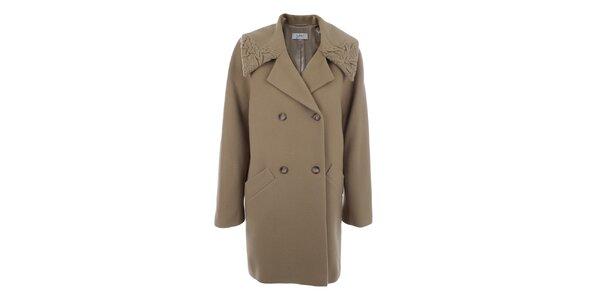 Dámský hnědobéžový dvouřadý kabát inAvati