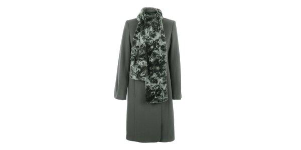 Dámský béžový kabát s hřejivou šálou inAvati