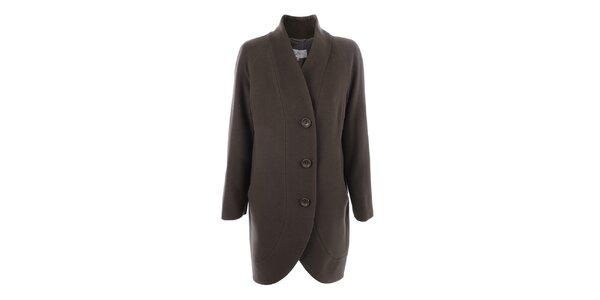 Dámský kabát s knoflíky v olivové barvě inAvati