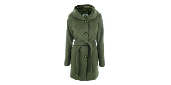 Dámský zelený kabát s knoflíkovým zapínáním Tik Tu