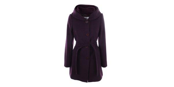 Dámský fialový kabát s knoflíkovým zapínáním Tik Tu