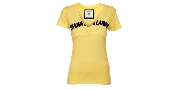 Dámské pastelově žluté tričko Timeout s výšivkou