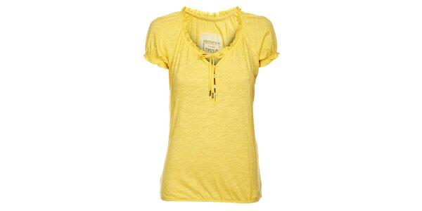 Dámské světle žluté tričko Timeout s volánky