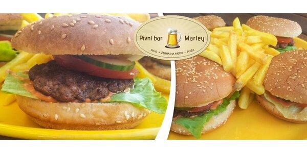 2x2 hovězí hamburgery + hranolky, nebo rozvoz po Brně