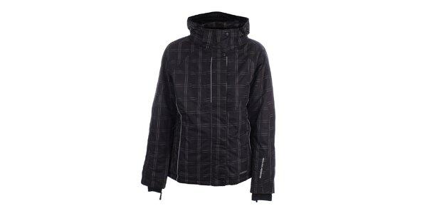 Dámská černá zimní bunda s kostkovaným vzorem Joluvi