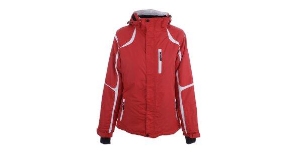 Dámská červená zimní bunda s bílými prvky Joluvi