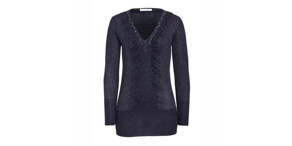Dámský tmavě modrý svetr s korálky Imagini
