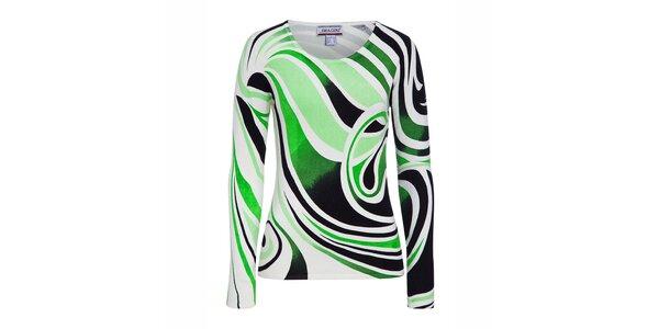 Dámský bílý svetřík se zeleným potiskem Imagini