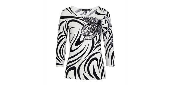 Dámský černo-bílý svetřík s dekorativní aplikací Imagini