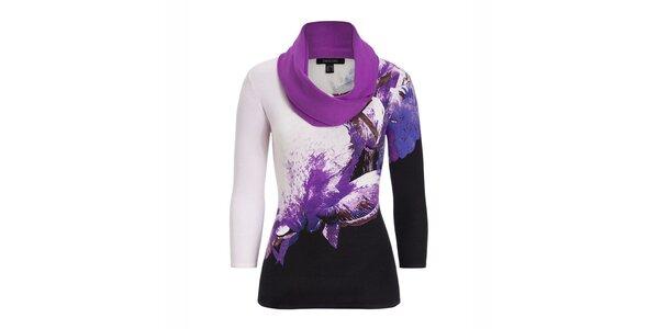 Dámský fialově vzorovaný svetřík s šátkem Imagini