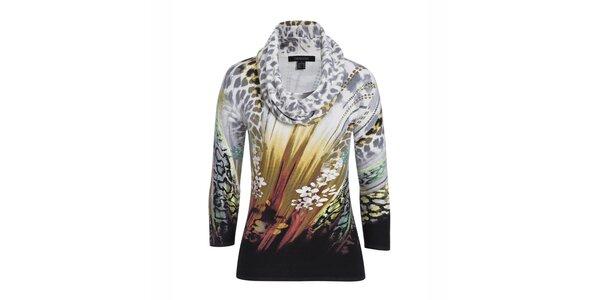 Dámský barevně vzorovaný svetřík s leopardím šátkem Imagini