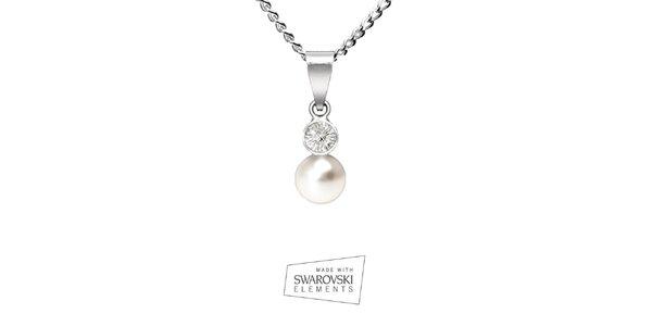 Dámský náhrdelník s postříbřeným přívěskem a bílou perlou Swarovski Elements