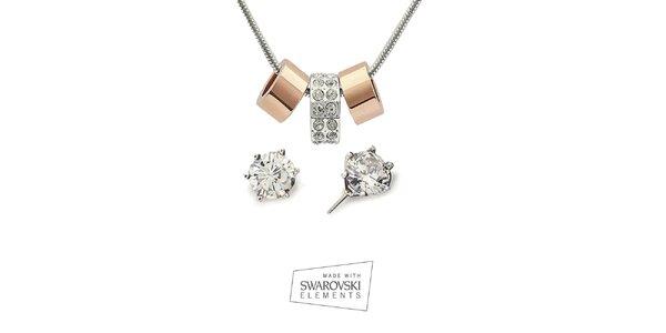 Dámský set náhrdelníku a náušice s čirými krystaly Swarovski Elements