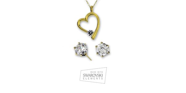 Dámský set pozlacených náušnic a náhrdelníku se srdíčkem Swarovski Elements
