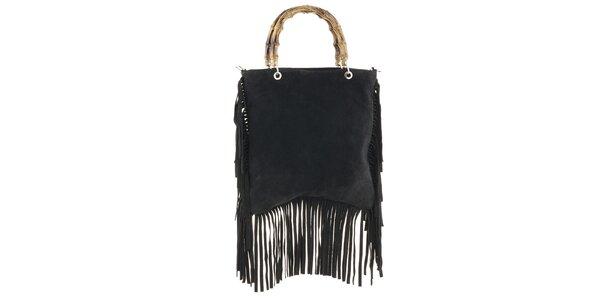 Dámská černá kabelka s třásněmi Tina Panicucci