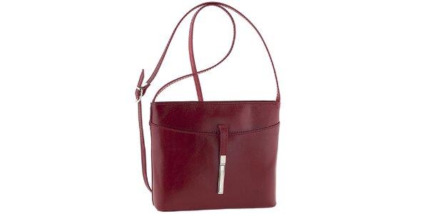 Dámská červená kožená kabelka přes rameno Tina Panicucci