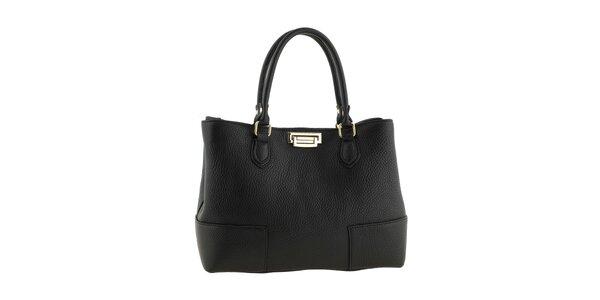 Dámská černá kožená kabelka se zapínáním ve zlatém tónu Tina Panicucci